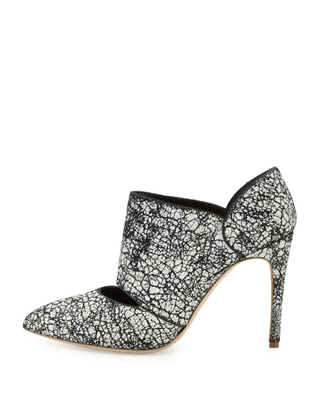 Crackle Point-Toe Ankle Bootie, Black/Gray