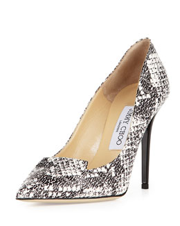 Jimmy Choo Avril Logo-Print Snake Pump