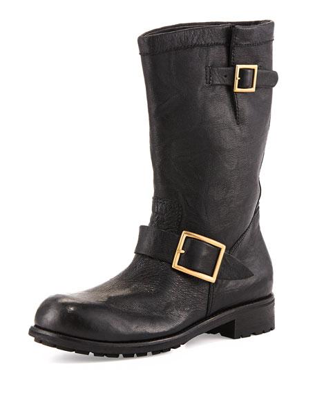 Biker Fur-Lined Lambskin Boot, Black