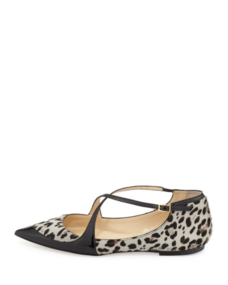 Gamble Crisscross Ballerina Flat with Leopard-Print Calf Hair