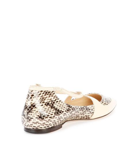 Gamble Crisscross Snake Ballerina Flat, Off White