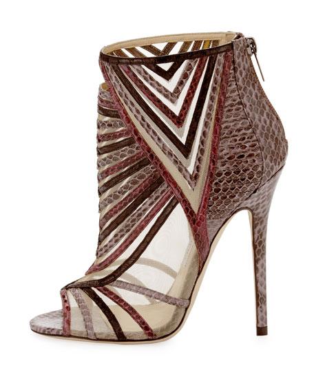 Kara Peep-Toe Snake Ankle Bootie, Multicolor