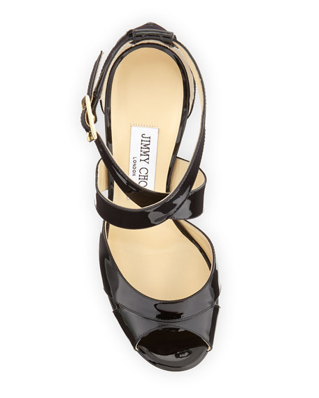 Kayak Patent Platform Sandal, Black/Antique
