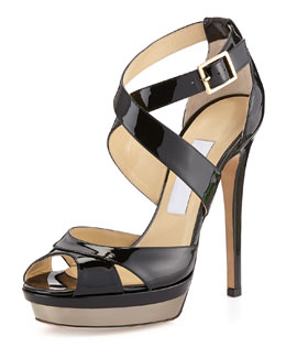 Jimmy Choo Kayak Patent Platform Sandal, Black/Antique