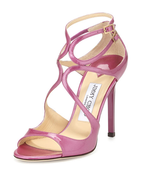 Lang Shimmer Patent Strappy Sandal, Jazzberry