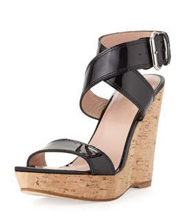 Stuart Weitzman Xray Patent Cork Wedge, Black (Made to Order)