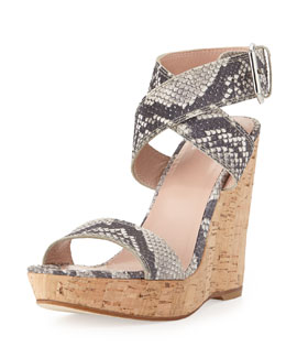 Stuart Weitzman Xray Snake-Print Cork Wedge, Natural