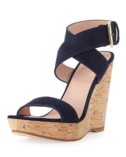 Stuart Weitzman Xray Suede Cork Wedge, Nice Blue (Made to Order)