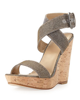 Stuart Weitzman Xray Glitter Cork Wedge, Pyrite (Made to Order)