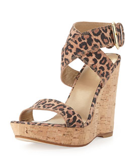 Stuart Weitzman Xray Leopard-Print Suede Cork Wedge (Made to Order)