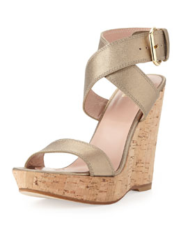 Stuart Weitzman Xray Metallic Leather Cork Wedge, Ale