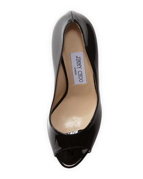 Luna Peep-Toe Pump with Metallic Platform, Black/Gold