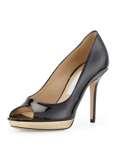 Jimmy Choo Luna Peep-Toe Pump with Metallic Platform, Black/Gold