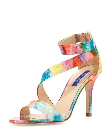 Christy Asymmetric Patent Sandal, Floral