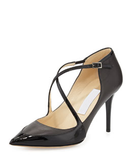 Jimmy Choo Madera Crisscross Point-Toe Pump, Black