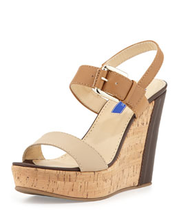 Dee Keller Monica Cork Wedge Sandal, Neutral Multi