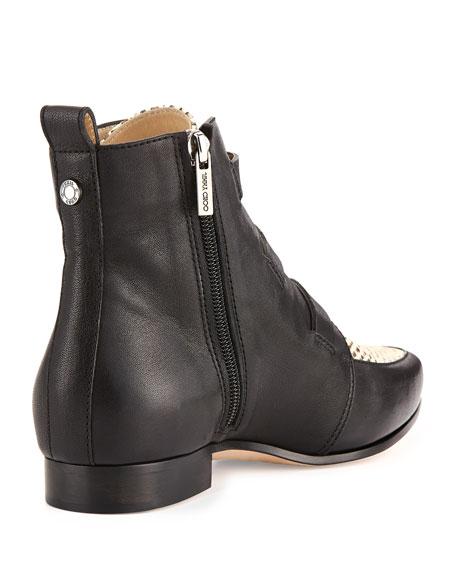 Marlin Snake-Print Ankle Boot, Black/Natural