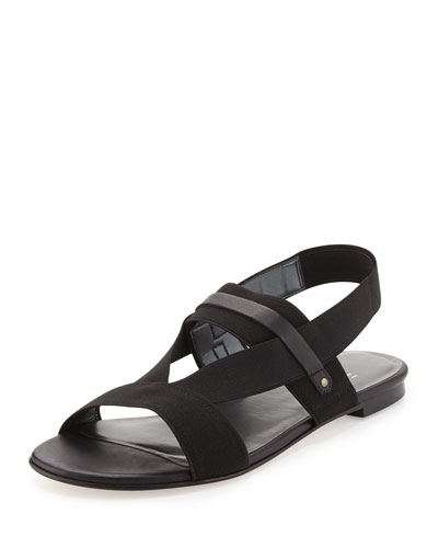 Stuart Weitzman Here to Stay Stretch-Strap Sandal, Black