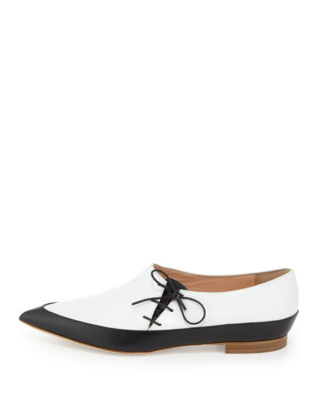 Point-Toe Leather Tie Shoe, Black/White