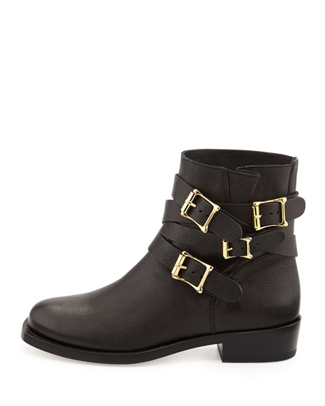 Multi-Buckle Leather Ankle Boot, Black