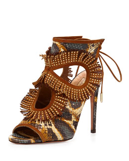 Aquazzura Snakeskin Fringe Cutout Sandal, Honey/Berry