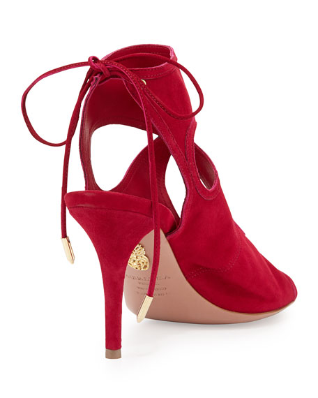 Sexy Thing Suede Cutout Sandal, Raspberry