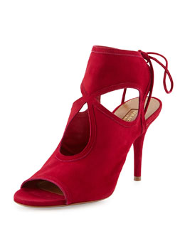 Aquazzura Sexy Thing Suede Cutout Sandal, Raspberry