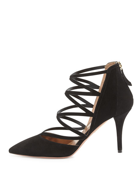 Electric Strappy Suede Pump, Black