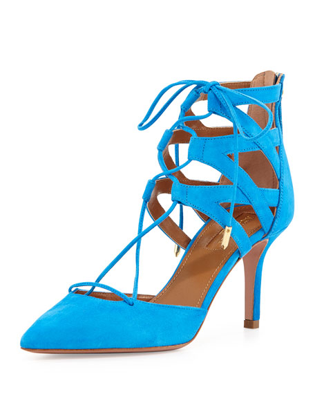 Belgravia Lattice Suede Sandal, Sky Blue