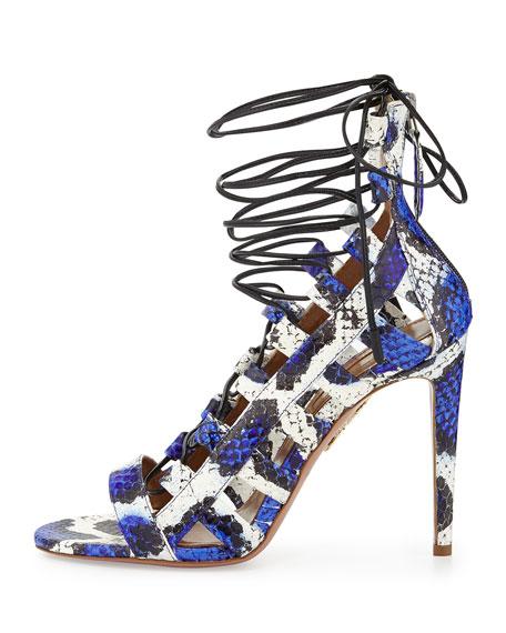 Amazon Lace-Up Snakeskin Sandal, Blue/White
