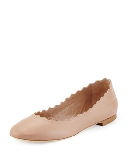 Chloe Scalloped Leather Ballerina Flat, Skin Beige