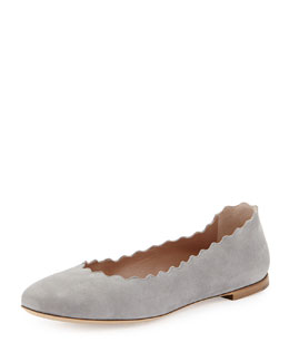 Chloe Scalloped Suede Ballerina Flat, Cloud Gray