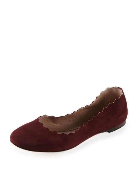 Scalloped Suede Ballerina Flat, Bordeaux/Wine