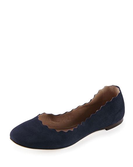Chloe Scalloped Suede Ballerina Flat, Blue Lagoon