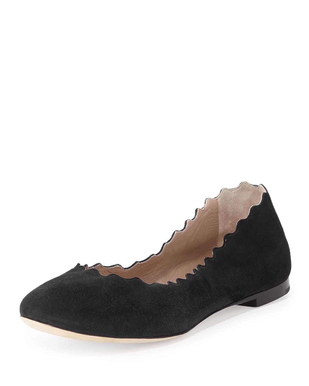 Chloe Scalloped Suede Ballerina Flat, Black