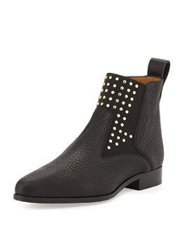 Chloe Studded Leather Chelsea Boot, Black