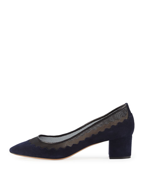 Suede Scalloped Mid-Heel Pump, Navy