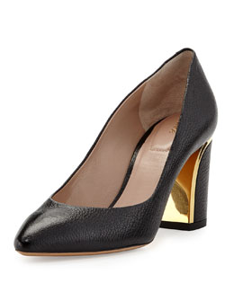 Chloe Leather Curved-Heel Pump, Black