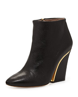 Chloe Curved-Heel Leather Ankle Bootie, Black