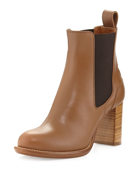 Leather Ankle Boot, Light Tan
