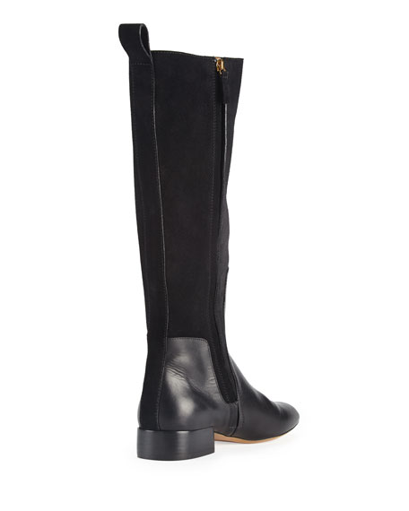 Leather & Suede Knee Boot, Black