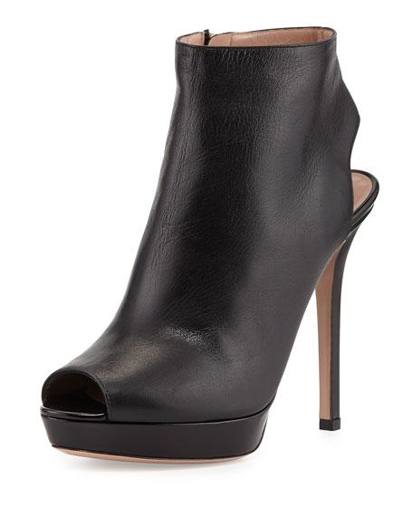 Leather Peep-Toe Ankle Bootie, Nero