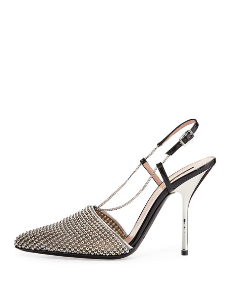 Beaded Mesh Slingback Pump, Silver