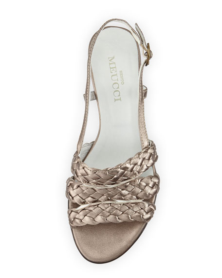Ginny Woven Leather Slingback Sandal, Pewter