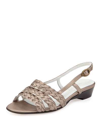 Sesto Meucci Ginny Woven Leather Slingback Sandal, Pewter
