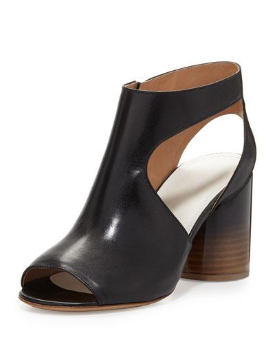 Maison Martin Margiela Leather Cutout-Side Sandal, Black