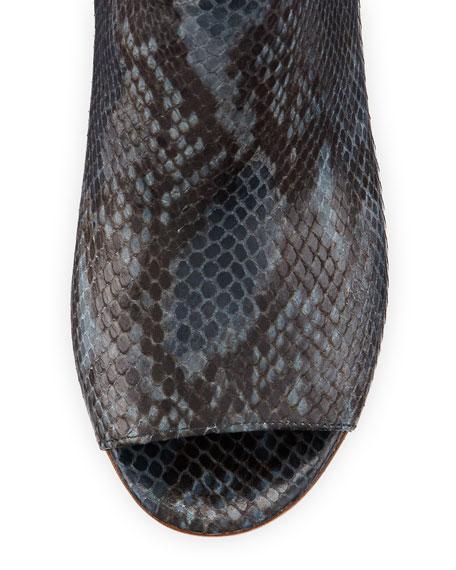 Snake-Print Peep-Toe Ankle Boot