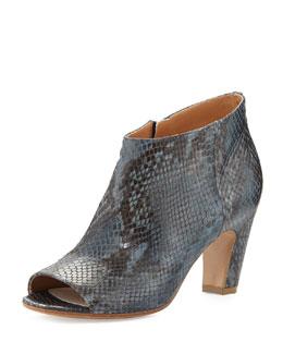 Maison Martin Margiela Snake-Print Peep-Toe Ankle Boot