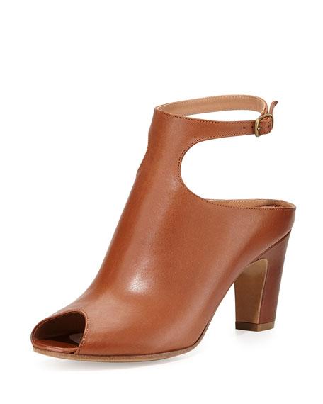 Low-Heel Peep-Toe Ankle-Strap Bootie