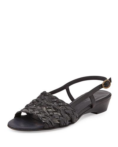 Sesto Meucci Ginny Woven Leather Slingback Sandal, Black
